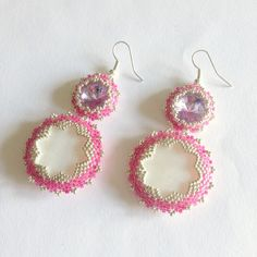 Pink Candyflower earrings with Swarovski and mother of pearl by La pietra blu di Avalon