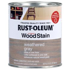 Rust-Oleum 32oz Weathered Gray Interior Stain. Took a risk & used this on exterior pallet wood. Wanted natural weathered look, but coastal California moisture was mildewing the pallets. Used this + Minwax Helmsman Spar Urethane, on pallets and some redwood. Looks great. Fingers crossed for it all to have a long, beautiful life.