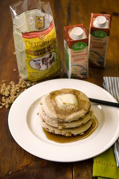 Honey Oat Granola pancakes made with #almondmilk #CeliacBreakfast