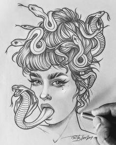 Medusa Tattoo Design, Tattoo Design Drawings, Tattoo Sketches, Drawing Sketches, Tattoo Designs, Medusa Kunst, Medusa Art, Medusa Drawing, Dark Art Drawings