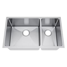 All-in-One Undermount Stainless Steel 31 in. 70/30 Double Bowl Kitchen Sink, Satin Stainless Steel