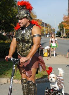 Halloween is the only time of the year when adults are not only allowed, but encouraged, to act childish and play make-believe. Here are out funny costume ideas you can make at home plus a few … Funny Costumes, Dog Costumes, Funny Dogs, Funny Animals, Funny Puppies, Gladiator Costumes, Geek Outfit, Best Halloween Costumes Ever, Man And Dog
