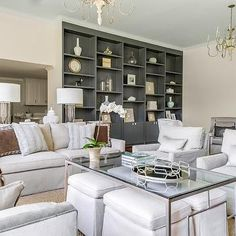 Gray Built Ins, Transitional, living room, Talbot Cooley Interiors