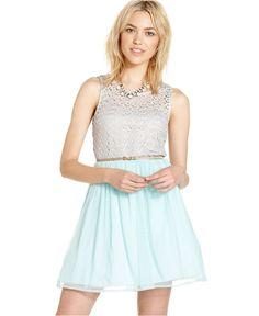 City Studios Juniors Dress, Sleeveless Colorblock A-Line - Juniors Dresses - Macy's