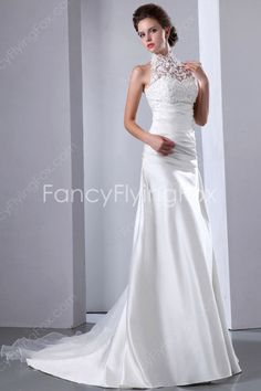 Elegant Ivory High Neckline Sleeveless Halter Celebrity Wedding Dresses at fancyflyingfox.com