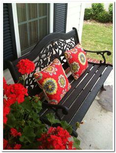 Best Ideas For Red Front Door Porch Shutters Front Door Porch, Front Doors, Backyard Garden Design, Garden Landscaping, Backyard Designs, Landscaping Ideas, Backyard Ponds, Big Garden, Large Backyard