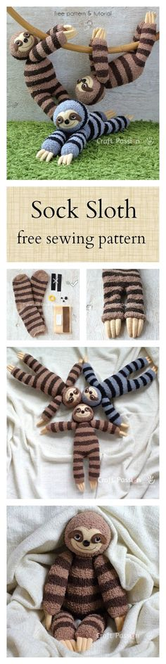 Sock Sloth Plushie Free Sewing Pattern 2019 Smie the sock sloth. Free pattern The post Sock Sloth Plushie Free Sewing Pattern 2019 appeared first on Socks Diy. Sock Crafts, Cute Crafts, Diy And Crafts, Crafts For Kids, Arts And Crafts, Easy Crafts, Cute Diys, Creative Crafts, Sewing Patterns Free