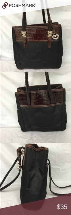 Brighton tote Black nylon tote with brown croc embossed trim. Gently used condition Brighton Bags Totes
