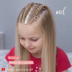 An easy festival hairstyle, not only children but also adults will love! By: An easy festival hairstyle, not only children but also adults will love! Braided Hairstyles Tutorials, Easy Hairstyles, Hairstyles 2018, School Hairstyles, Female Hairstyles, Everyday Hairstyles, Summer Hairstyles, Wedding Hairstyles, Medium Hair Styles
