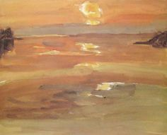 """Sunset, Moel y Don"" by Sir Kyffin Williams"