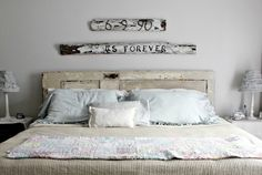 Recycled vintage door bedhead and fence signs