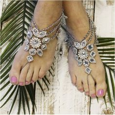 barefoot sandals - silver -gypsy - boho - silver - hippie