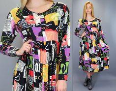 Vintage 90s Bright Abstract Bold Modern Print Babydoll Empire Waist Dolly Midi Dress Long Sleeve Purple Orange Yellow Green Black White by BlueFridayVintage