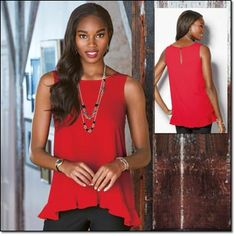"""Feminine Flutter-Hem Top Sleeveless, flowy red top has a flouncy ruffle high-low hemline. Keyhole button back closure. Polyester. Machine wash and dry. Imported. Sizes: S(6-8), M(10-12), L(14-16), XL(18) Center back length, 26"""" (on Medium). Brochure: $19.99"""