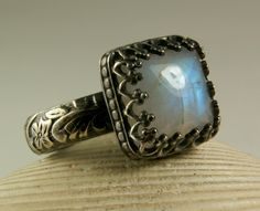Rainbow Moonstone Ring, Sterling Silver, Natural Square Stone, Vintage Inspired, Blue Flash, made to order. $65.00, via Etsy.