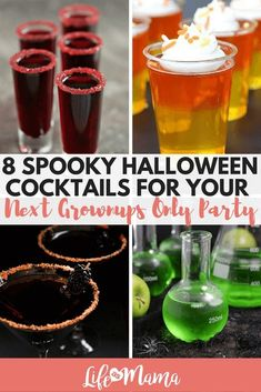 8 Spooky Halloween Cocktails For Your Next Grownups Only Party If you love Halloween, then you need to try these Halloween cocktails for your next party. Just be sure to keep the kids away from the drink table- these are not kid-friendly! Halloween Snacks, Halloween Shots, Halloween Bebes, Halloween Party Drinks, Halloween School Treats, Halloween Party Supplies, Halloween Food For Party, Halloween Birthday, Holiday Drinks