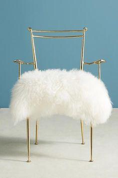 Anthropologie Shag Puff Dressing Chair