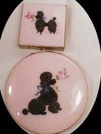 Pink enamel Poodle Compact & Pill Box