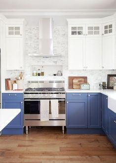 Today we have a round-up of inspiring non-white kitchens for those of you craving a different look. Blue Kitchen Cabinets - Hardwoods in Kitchen - Jillian Harris Design - Farmhouse Kitchen Two Tone Kitchen Cabinets, Blue Cabinets, Painting Kitchen Cabinets, Kitchen Cabinet Design, Kitchen Counters, Two Toned Kitchen, Colorful Kitchen Cabinets, Colored Cabinets, White Counters