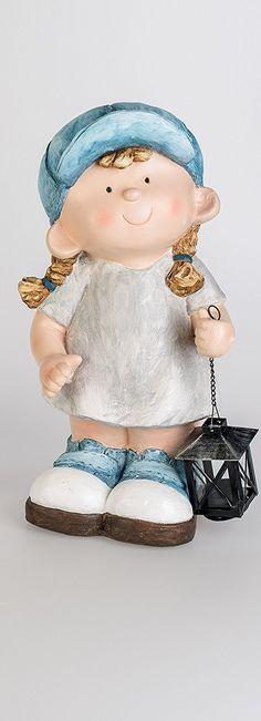 *Werbung* Dekofiguren mit Laterne für Frühling & Sommer. Gartenfiguren aus Magnesia, daher super geeignet für Außen. Niedliches Sommerkind ca 44 cm hoch. (Mädchen)