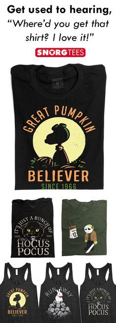 Pumpkins, black cats and evil rabbits! Get Halloween ready with SnorgTees.  SnorgTees makes funny, witty pop-culture inspired t-shirts and hoodies for men, women and kids. Our tees are made with super soft, comfy materials that'll have you reaching for your favorite SnorgTee week after week. Whether you're looking to upgrade your t-shirt collection or need a clever gift for someone special, SnorgTees is a must.