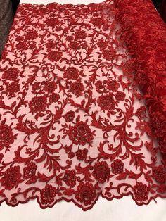 Vin doux floral tissu en dentelle robe de soirée/'s vintage dentelle tissu par 0.5 mètre 35