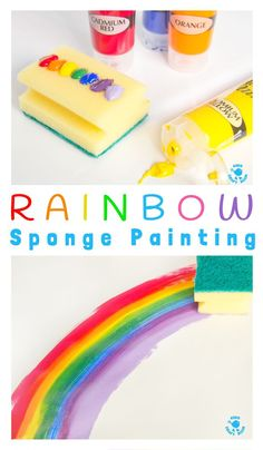 Rainbow Sponge Painting - fun rainbow art for kids that explores colour mixing, blending and textures. A fun process art kids painting technique.