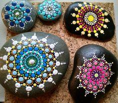 "Beach Stone~ Hand Painted by Miranda Pitrone ""Ferris Wheel"" ~ Pink & Yellow Ombre progression Dot Art Burst Mandala~ Summer Fun Decor by P4MirandaPitrone on Etsy"