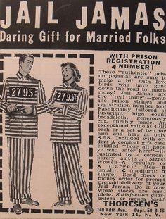 Vintage Jail Pyjamas Advert via Weird Vintage