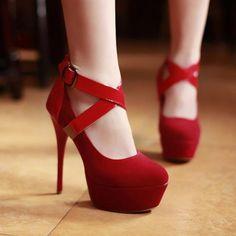 USD18.49Fashion Round Closed Toe Stiletto High Heels Red PU Mary Jane Pumps