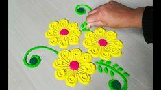 Everyday के लिए आसान और सुंदर रंगोली rangoli बनाना सीखें | satisfying ar... Rangoli Designs Latest, Beautiful Rangoli Designs, Festival Rangoli, Rangoli Ideas, Simple Rangoli, Crochet Necklace, Make It Yourself, Videos, Blouse Designs
