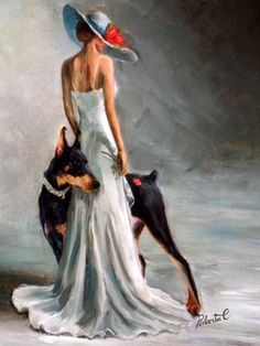 Doberman Pinscher bl & tan with lady original oil painting by Roberta C