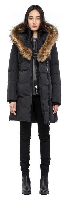 Mackage Women's Kay Down Coat with Fur Trim, Black, X-Small