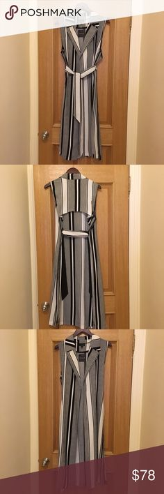BNWT Topshop Striped Trench Vest Duster BNWT Topshop Striped Trench Vest Duster. Colors are Black and White. Size 6. Statement piece. Great, versatile addition to any closet. Never been worn. Final sale. Topshop Jackets & Coats Vests