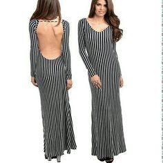 "Backless open back long sleeves maxi dress stripes New. Navy and white. Form fitting. Striped pattren. Open back.backless dress. long sleeves. Flare hem MEDIUM WEIGHT. jersey stretchy fabric. Material content ;78% RAYON 26% POLYESTER 4% SPANDEX MEASUREMENTS:   Total Length=57-59"" Sleeves length 24-25""   Size: Small Bust: 30-34"" Waist: 24-28"" Hips: 32-36""  Size: Medium Bust: 32-36""Waist: 26-30"" Hips: 34-38""  Size: Large Bust: 34-38"" Waist: 28-32"" Hips: 36-40"" boutique  Dresses Maxi"