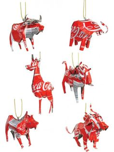 Classic Coca Cola Ornament - Set of 6 Tin Can Crafts, Metal Crafts, Giraffe, Elephant, Tin Can Art, Coca Cola Christmas, African Artwork, Recycle Cans, African Crafts