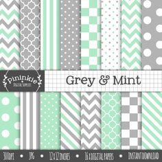 Grey & Mint Digital Paper Pack