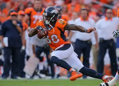 Wide receiver Demaryius Thomas #88 of the Denver Broncos dives forward after making a catch against the Baltimore Ravens in the fourth quarter of a game at Sports Authority Field at Mile High on September 13, 2015 in Denver, Colorado. (Sept. 12, 2015 - Source: Doug Pensinger/Getty Images North America)