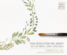 Watercolor clipart is so versatile and a must-have addition to your crafting toolbox. This green leafy watercolor wreath is hand painted with love. It looks lovely on wedding stationery, but of course is not limited to that. The wreath clipart prints beautifully onto matt paper. You