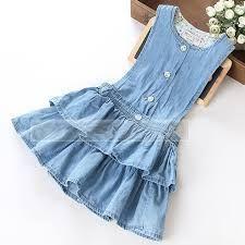 Resultado de imagen para vestidos de niña talle largo de mezclilla