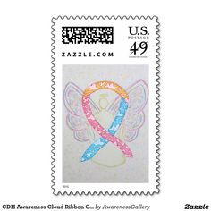 CDH Awareness Cloud Ribbon Cherub Art Postage Stamps