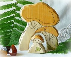 Chanterelle MUSHROOM HOUSE and Gnome  eco friendly by Rjabinnik, $15.00