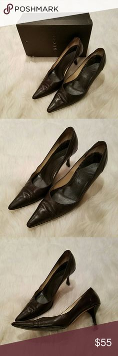 $660 Authentic GUCCI Bali Gomma Leather Pumps Dark Brown pointy toe pump from Gucci. Comes with box no bag. Dark brown wood heel, kid leather upper. Retailed for $660 . Pre-owned and shows wear. Inner sole was coming up, has been glued down. Wear to bottom sole. Leather body in good condition, nothing major. Still tons of life left! Authentic of course! Gucci Shoes Heels