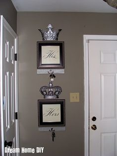 My same crowns (from Hobby Lobby)! Might try this- cute idea. Paint on the wall is even the same as in our b.room