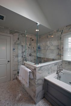 Gorgeous calacatta tile in Bathroom Transitional with Marble Basketweave next to Calacatta Bathroom alongside Caesarstone Misty Carrera and Calacatta Marble