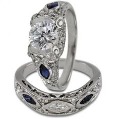 Antique Diamond Sapphire Two Ring Engagement Setting. Dream ring.