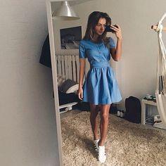 Summer style robe 2015 femmes taille serrée Denim robes a ligne solide col rond manches courtes mini lady robes dans Robes de Vêtements & accessoires sur AliExpress.com | Alibaba Group