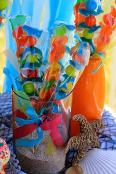 Cute Under the Sea candy skewers for a party! And each stick of candy could be the favors