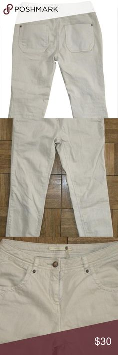 "Anthro Leifsdottir Crop Ankle Jeans light size 0 Anthropologie leifsdottir crop jeans in ecru/Oatmeal (beige with slight grayish tone)  SIZE: 0  CONDITION:  Very good, no holes or stains, like new  Waist - about 28"" - 14"" flat Inseam - about 25 inches CROP Front rise - about 9"" Back rise - about 12.25"" Hem opening - flat - about 5.25""  Thigh measured flat (6"" below crotch) - about 8"" Measured flat across bottom rear pockets about 17.5"" (hip) stretches (2% Spandex) zipper measures - about 3…"