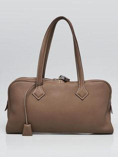 Authentic Hermes Etoupe Clemence Leather Palladium Plated Victoria Elan Bag  at Yoogi s Closet. 84e3cb1439579